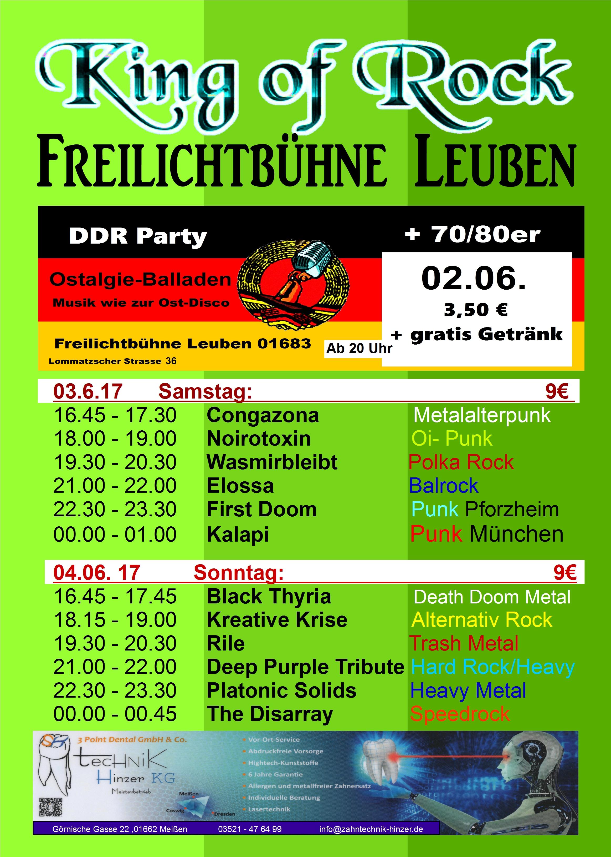 King of Rock-Festival @ Leuben-Schleinitz, Parkbühne | Nossen | Sachsen | Deutschland